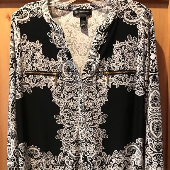 INC International Concepts Tops - 🎃 SALE INC Long Sleeved Black White Blouse NWOT